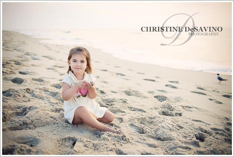 Adorable girl on long beach island at sunrise nj beach photographer