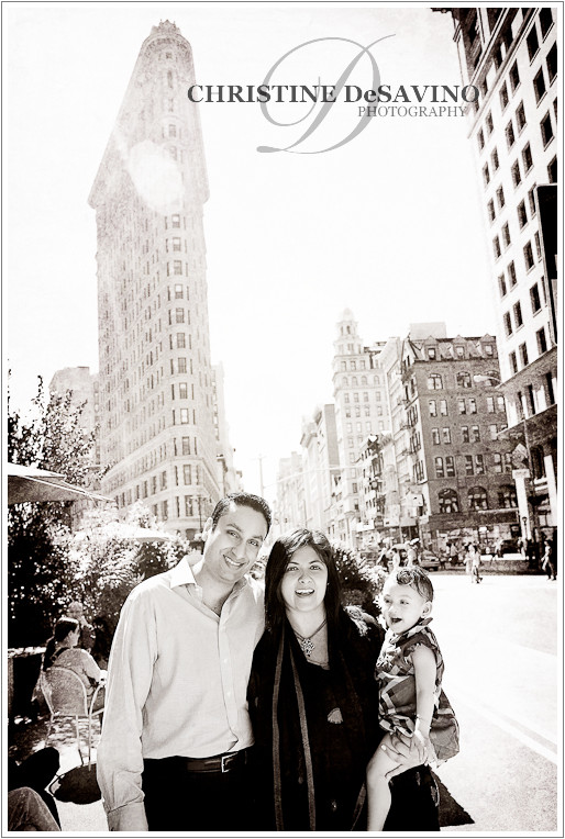 Family portrait with the Flat Iron Building - NYC Family Photographer