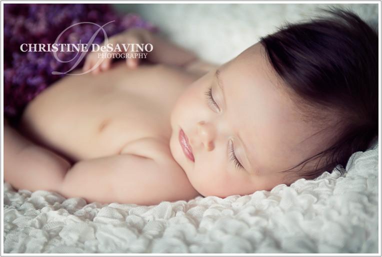 Close up of baby girl sleeping- NY Baby Photographer