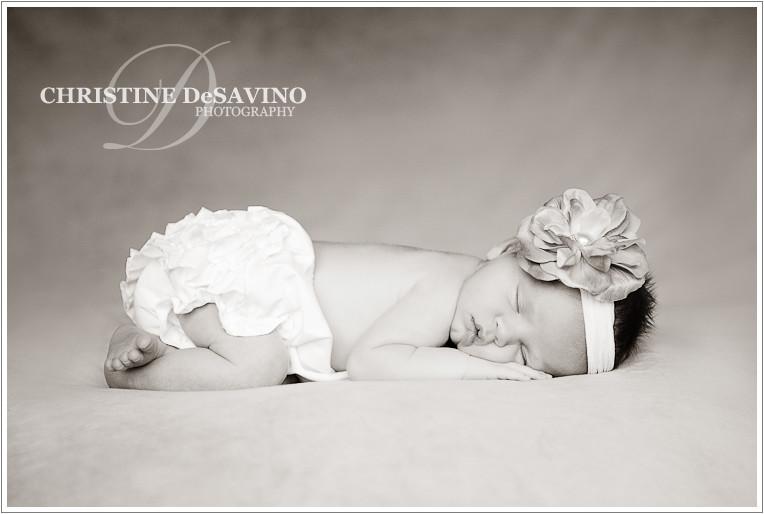 Black and white newborn sleeping - NJ Newborn Photographer