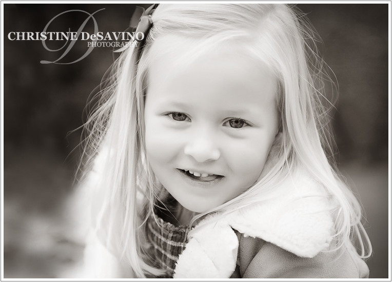 Black and white image of adorable girl - NJ Child Photographer