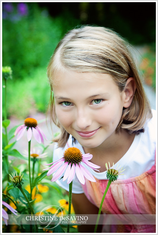 girl with echinacea flower