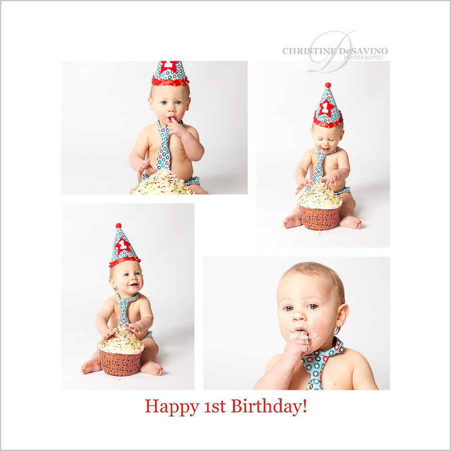Cake Smash Session for a beautiful one year old boy - NJ Baby Photographer