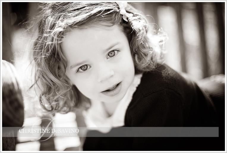 Black and white close up of beautiful girl - NJ Child Photographer