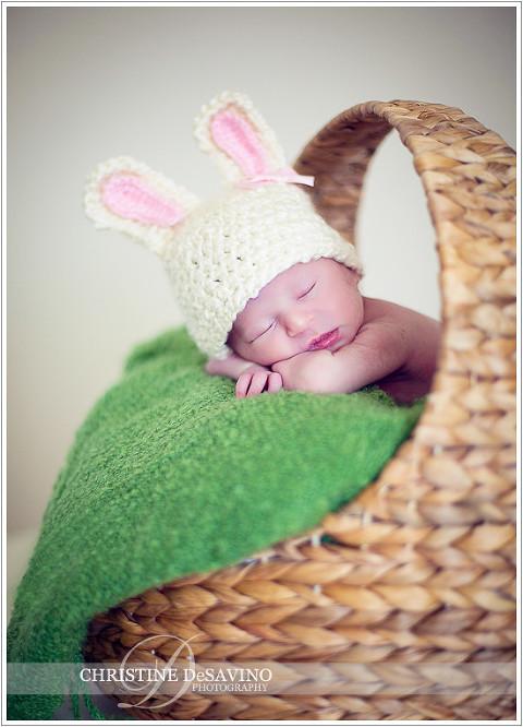 Newborn Easter Baby with bunny ears - NJ Newborn Photographer