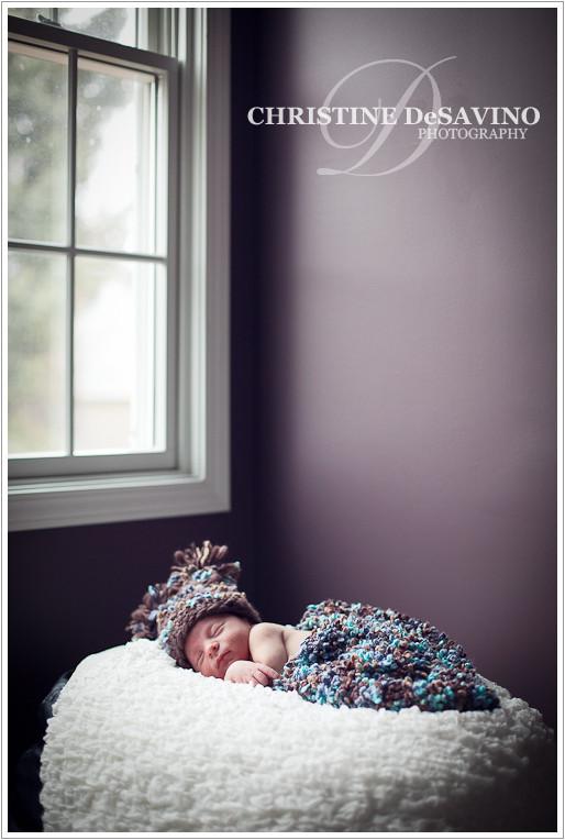 Baby boy sleeping by window - NJ Newborn Photographer