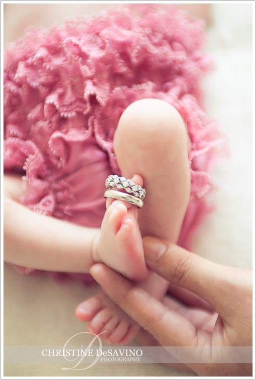 Newborn feet with wedding ring - NJ Newborn Photographer