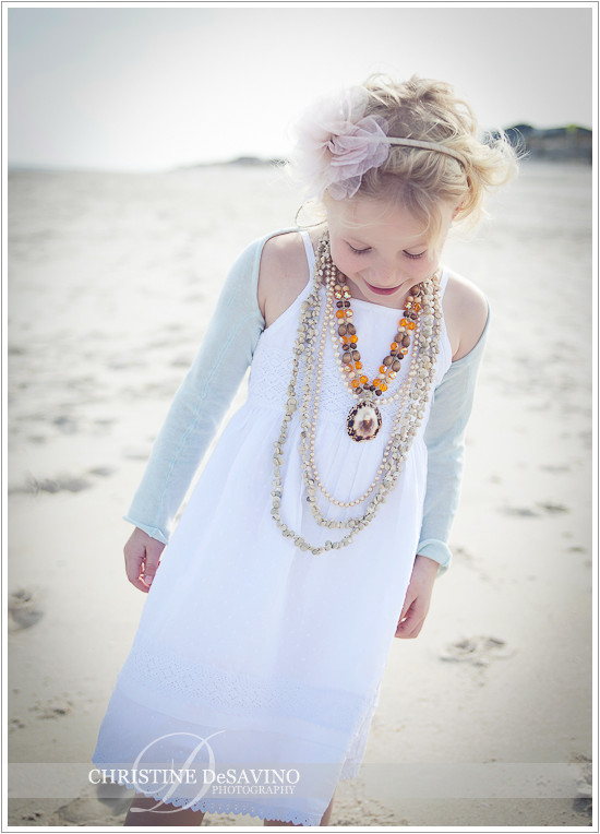 Girl on beach in white dress & accessories - NJ Beach Photographer