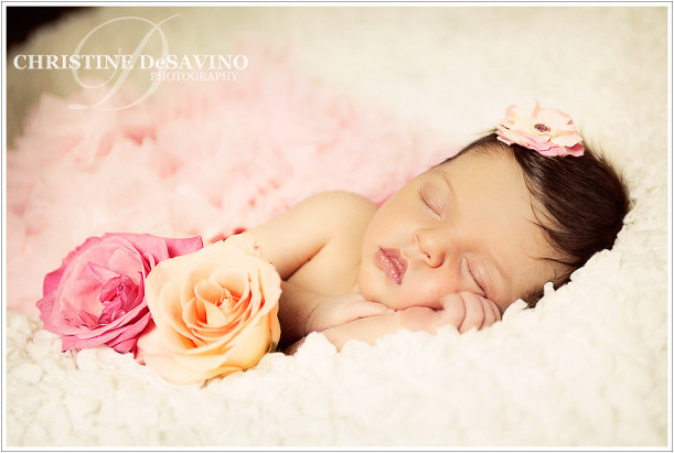 Beautiful newborn girl with roses - NJ Newborn Photographer