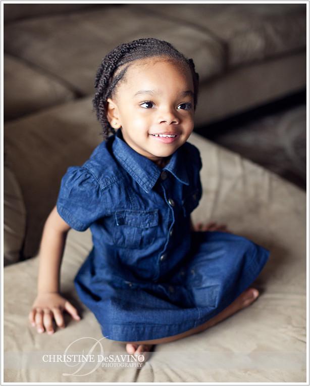 Pretty girl in denim dress smiling - NJ Child Photographer