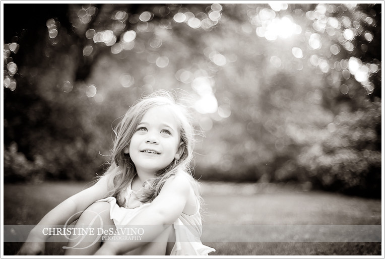Black and white of girl on lawn - NJ Child Photographer