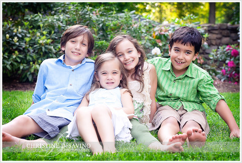 Four beautiful siblings laughing - NJ Family Photographer