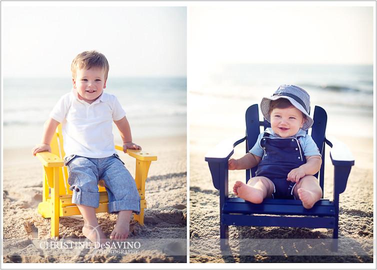 Brothers on beach chairs - NJ Beach Photographer