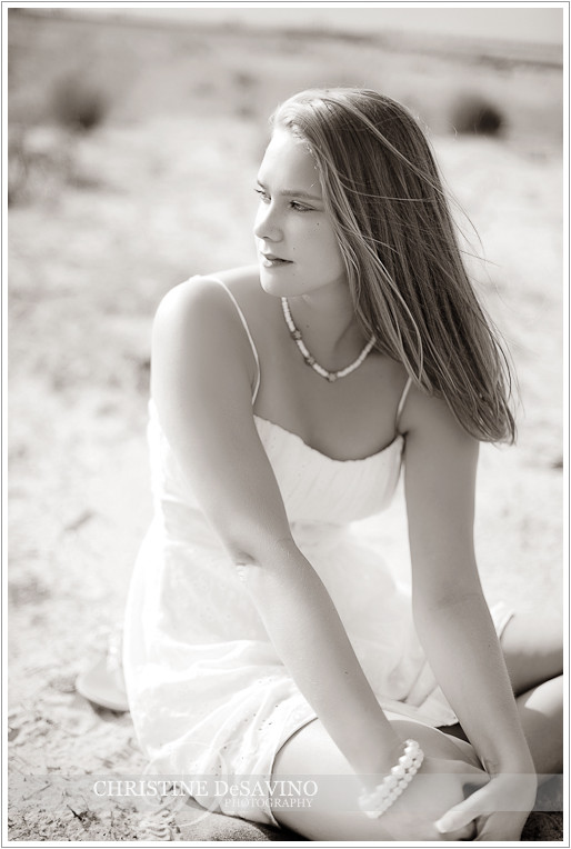 Beautiful black and white of senior girl on beach - NJ Senior Photograher