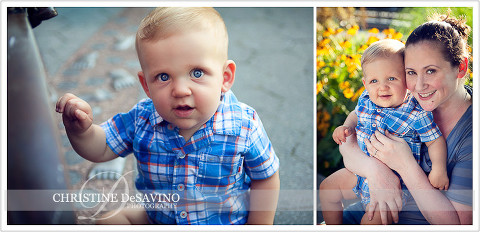Beautiful blue-eyed boy with mother - NYC Family Photographer