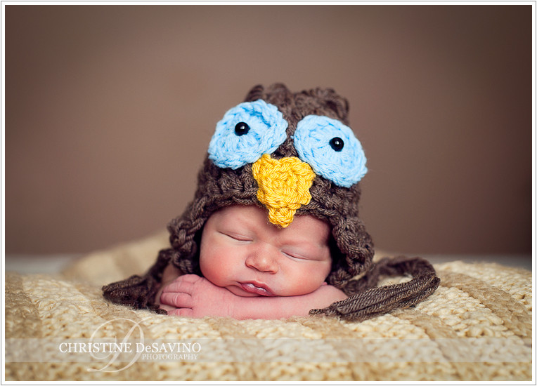Newborn boy in owl hat - NJ Newborn Photographer