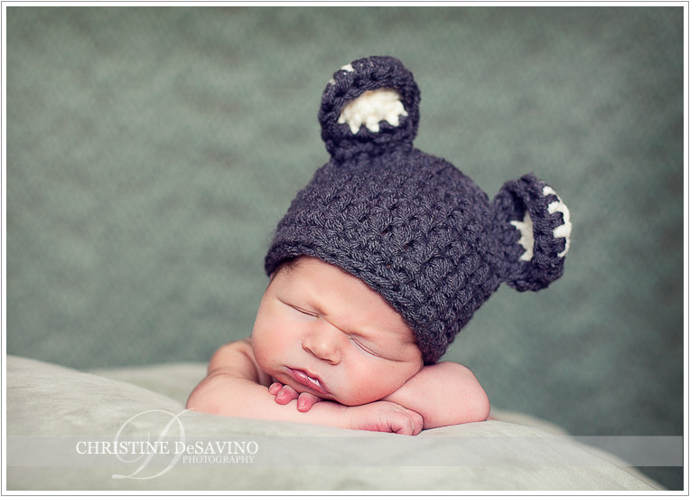 Newborn boy in mouse hat - NJ Newborn Photographer