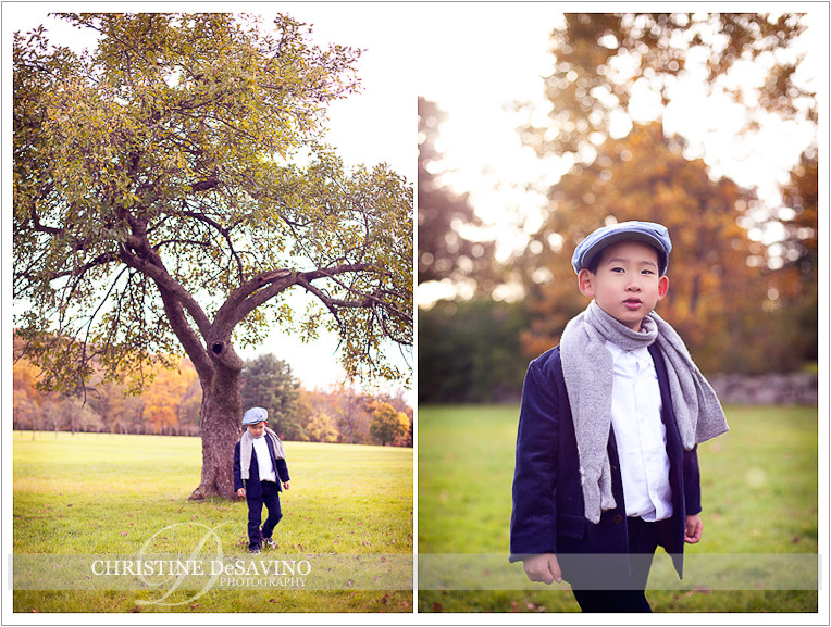 Boy in cap by tree - NJ Child Photographer