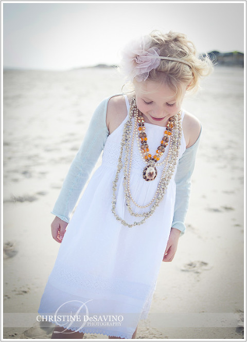 Girl on beach in white dress & accessories - NJ Beach Photographer