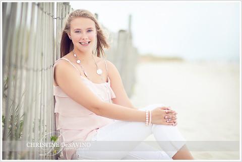 Beautiful girl sitting in sand dunes - NJ Beach Photographer